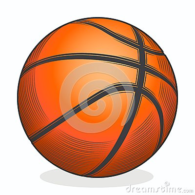 Basketball ball isolated on a white background. Color line art. Fitness symbol