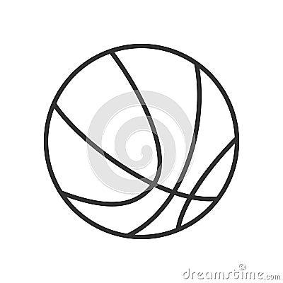 Basketball Ball Outline Flat Icon on White Vector Illustration