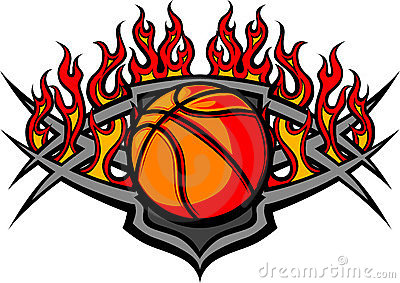 Basketball Ball Template with Flames Image