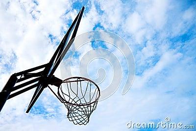 Basketball basket over blue sky