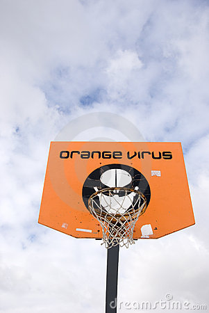 Basketball board. Orange virus tournament. Editorial Photo