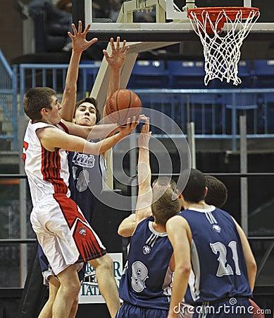 Free Basketball Boys Shot Block Attempt Stock Photos - 18549793