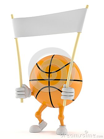 Basketball character holding banner Stock Photo