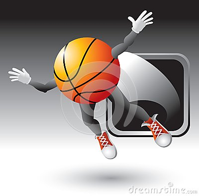 Basketball character popping out of silver frame