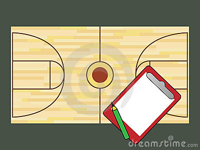 Basketball court and notepad