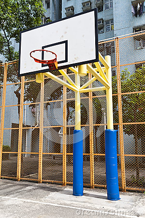 Basketball court in perspective view