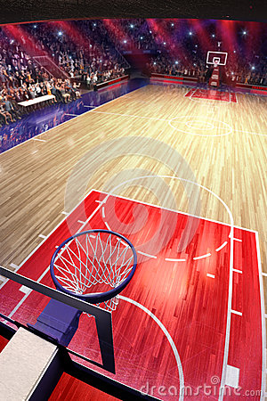 Free Basketball Court With People Fan. Sport Arena.Photoreal 3d Render Background. Blured In Long Shot Distancelike Leans Optical Royalty Free Stock Images - 83080979