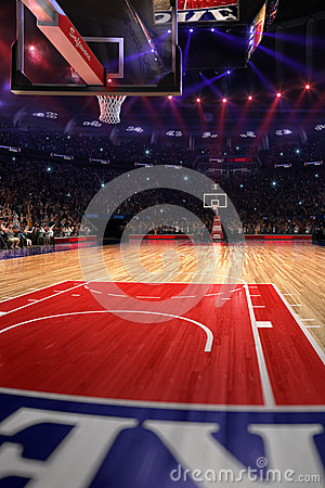 Free Basketball Court With People Fan. Sport Arena.Photoreal 3d Render Background. Blured In Long Shot Distancelike Leans Optical Stock Photography - 83080992