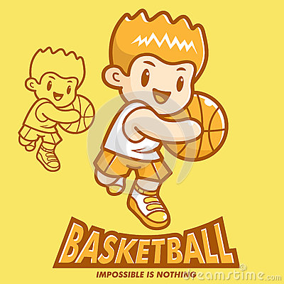 Basketball exercise in boys Mascot. Sports Character Design Seri