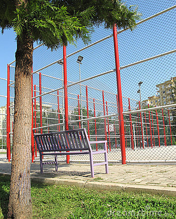 Basketball field and bench
