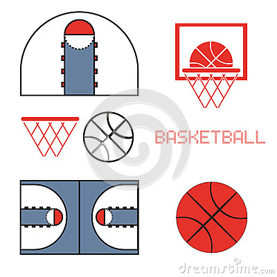 Free Basketball Game Objects Icons Stock Photo - 64617170