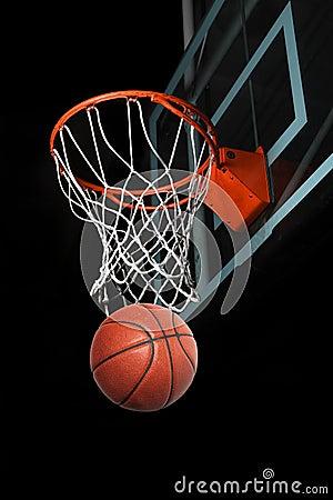 Free Basketball Going Through Hoop Stock Photography - 91723612