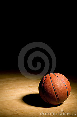 Basketball on the Hardwood with Black Copy space a