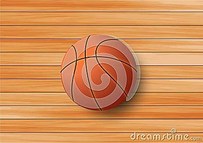 Basketball on the hardwood floor background