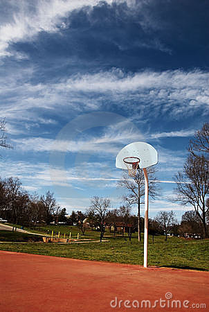Basketball hoop basket on court