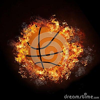 Basketball on hot fire smoke