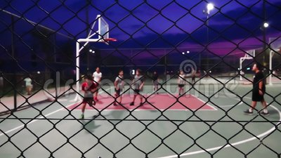 Basketball nachts stock video footage