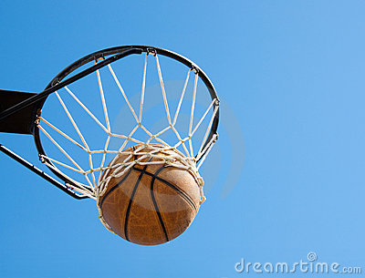 Basketball in the net - abstract concept of succes