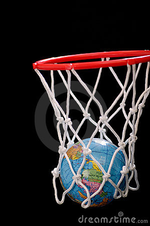 Basketball net with earth scoring point.