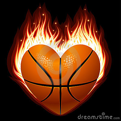 Free Basketball On Fire In The Shape Of Heart Royalty Free Stock Image - 19040306