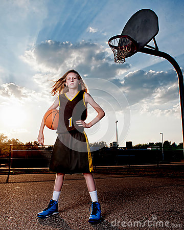 Basketball Player with Ball and Hoop