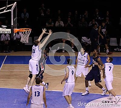 Basketball player blocking Editorial Photo