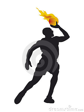 Basketball player with burning ball