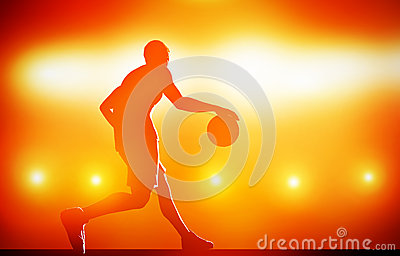 Basketball player silhouette dribbling with ball