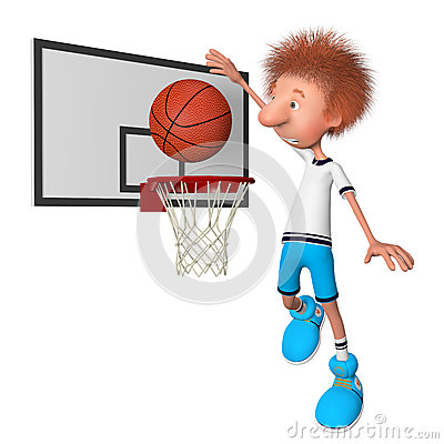 The basketball player on training