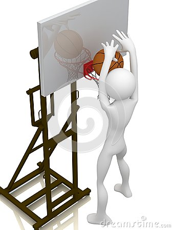 Basketball player trying to score.
