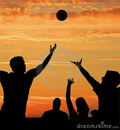 Basketball players on court at sunrise sunset