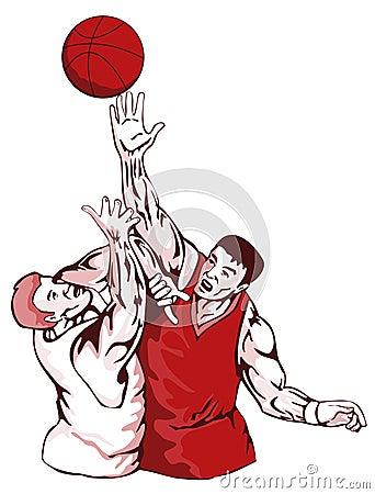 Basketball players rebounding