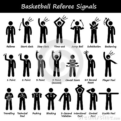 Basketball Referees Officials Hand Signals Cliparts Stock