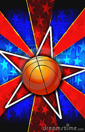 Basketball Star Burst Red