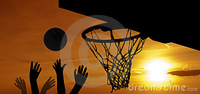 Basketball at sunset