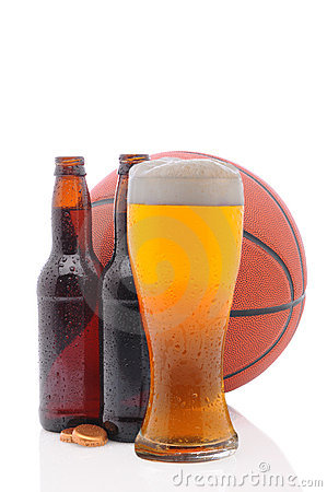 Basketball and two beer bottles and Glass