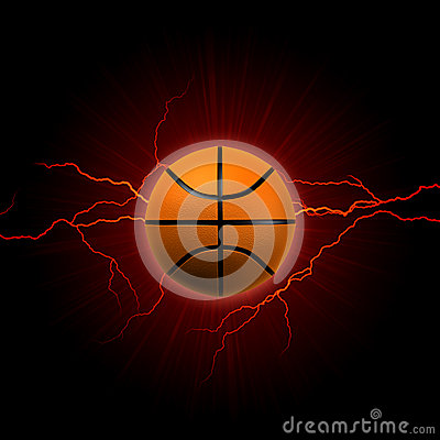 Free Basketball With Red Lightning Stock Image - 29799521