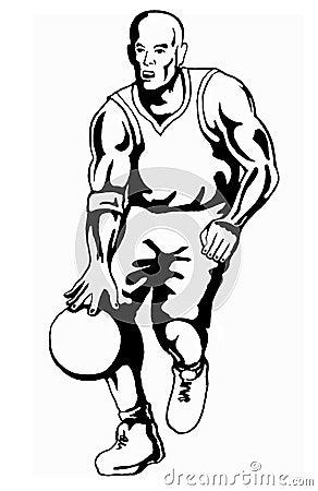 Free Basketballer Dribbling Bw Royalty Free Stock Images - 2345369