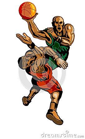 Basketballer dunking blocking