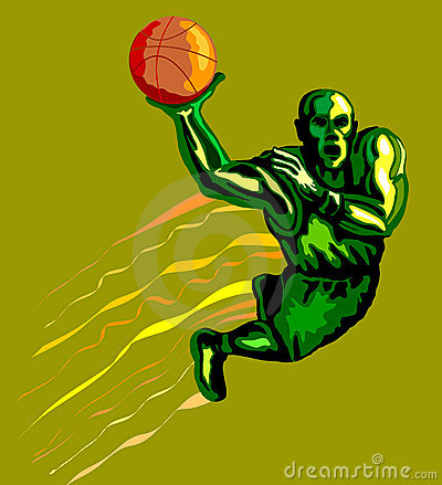 Basketballer dunking green