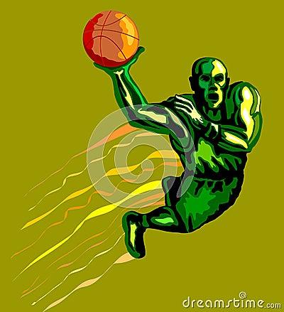 Basketballer dunking green