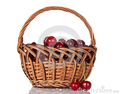 Basketful of ripe sweet cherry