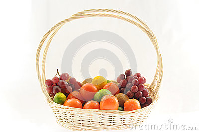 A basketful of various fruits