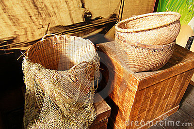 Baskets and fishing net