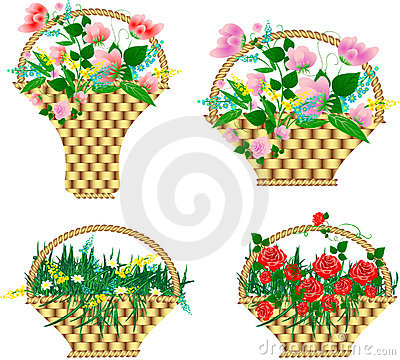 Baskets with flowers