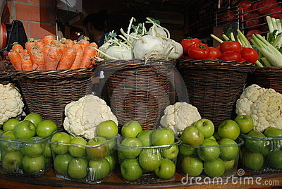 Baskets with fruit and vegetables