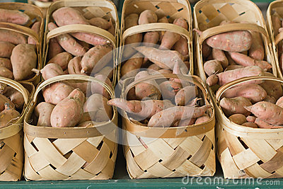 Baskets of Healthy Sweet Potatoes