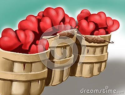 Baskets of love hearts