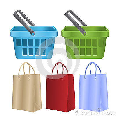 Baskets and packages for purchases