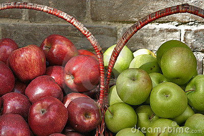 Baskets of Red and Green Apples